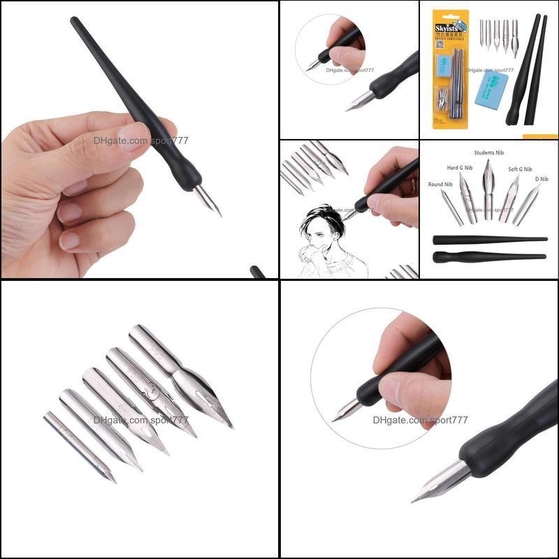 Fountain Pens Cartoon Nib Holder Eraser Painting Material Escolar Stationery Set Manga Pen Dip Calligraphy Drawing Tool 5