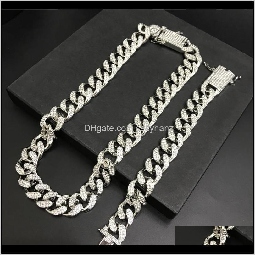 2cm hip hop men gold color out cuban crystal miami necaklce chain gold color men necklace & bracelet set hip hop for