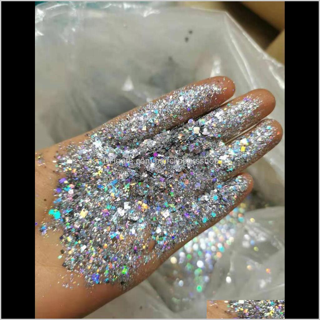 bulk 1kg/bag laser glitter powders shiny mixed size nail art glitters diamond holographic sequins manicure tool 16color choose