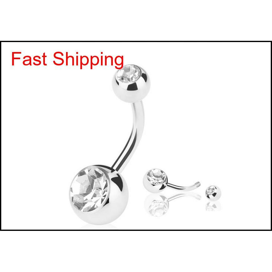 new silver stainless steel belly button rings navel rings crystal rhinestone body piercing bars jewlery for women`s bikini fashion