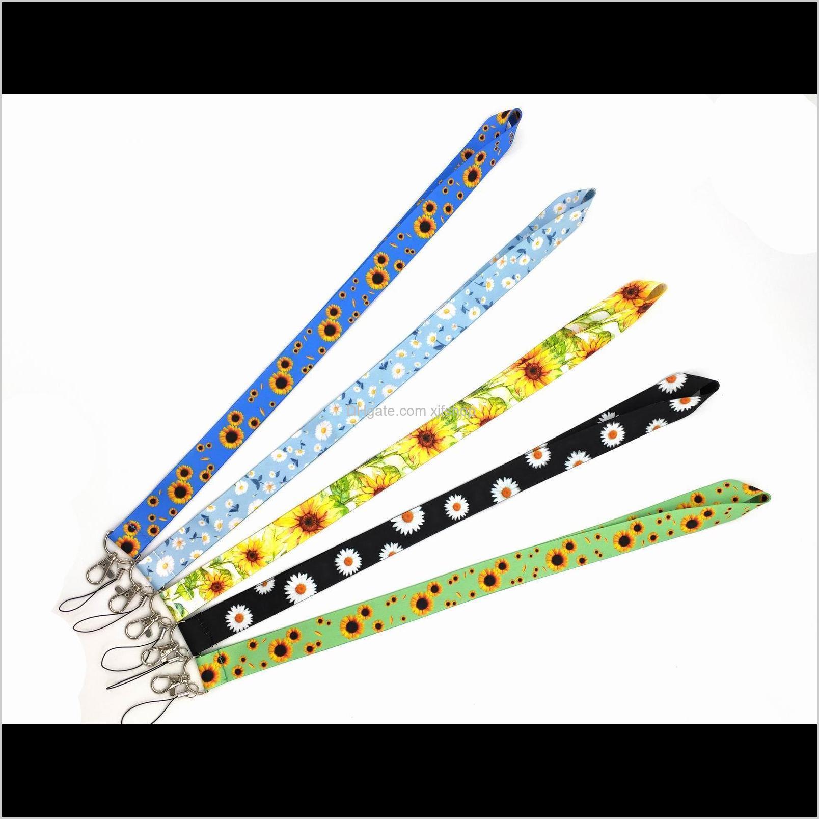 10pcs flower chrysanthemum sunflower lanyard for keys mobile phone strap id badge holder rope keychain charms diy keychain accessories