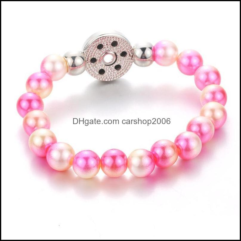 Charm Bracelets 10MM Simulated Pearl Beads Elasticity Female 18mm Snap Bangles For Women Button Bracelet 4700