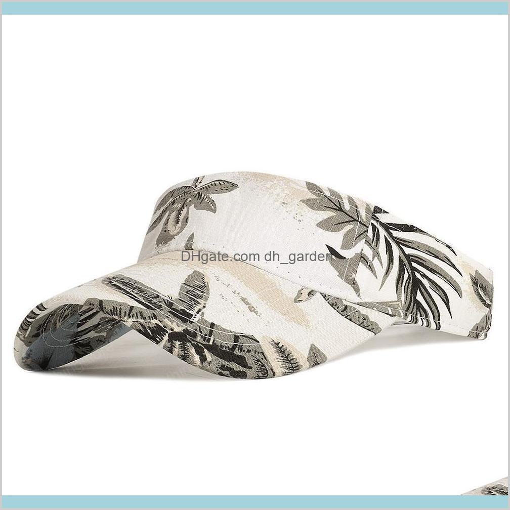 baseball cap woman sports tennis cap empty top baseball cap cotton printed shade adjustable outdoor running hat leaf flower hat