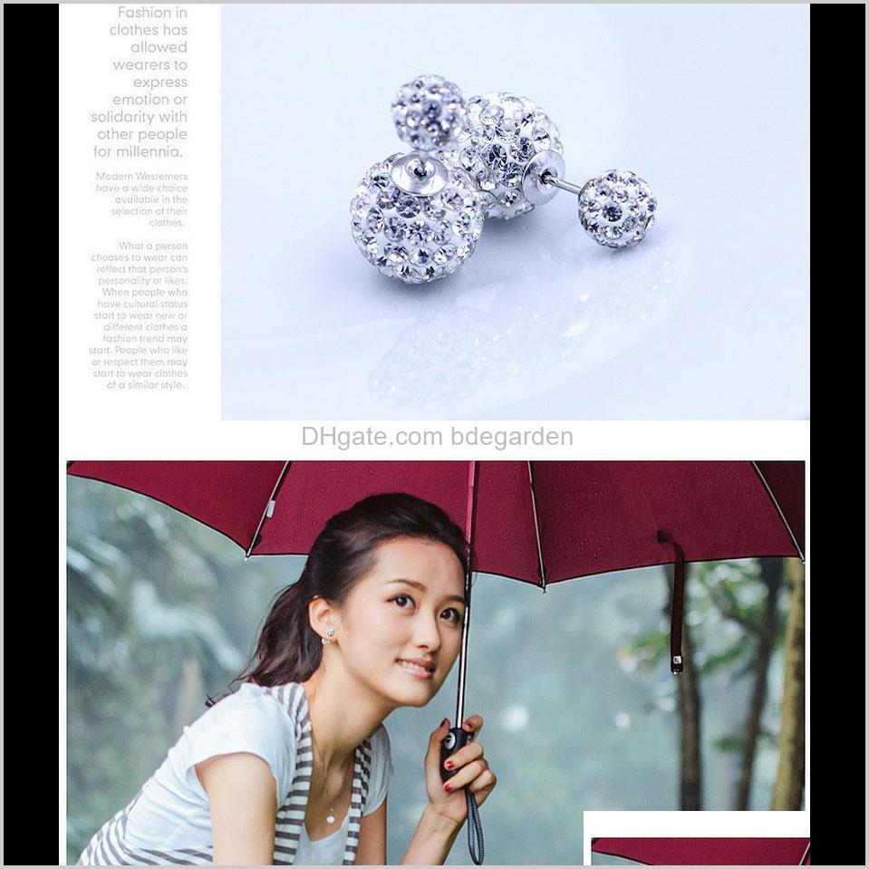 double side earrings vintage shamball disco ball ear jewelry white gold overlay silver crystal ball bohemian wedding ps0008