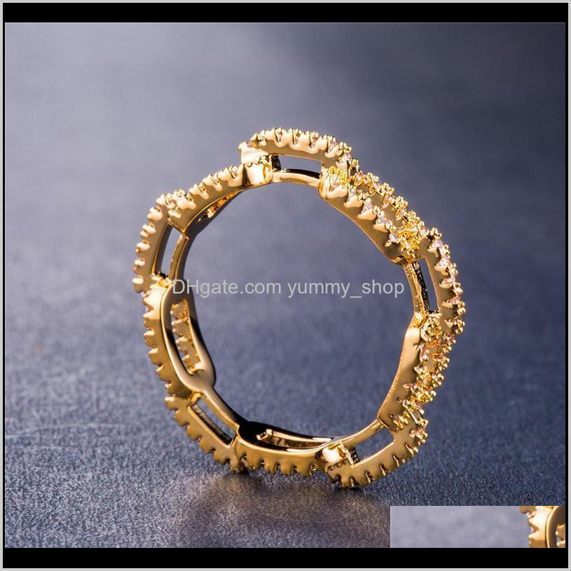 creative chain ring zircon wedding ring for women silver rose gold copper rhinestone ring popular engagement jewelry