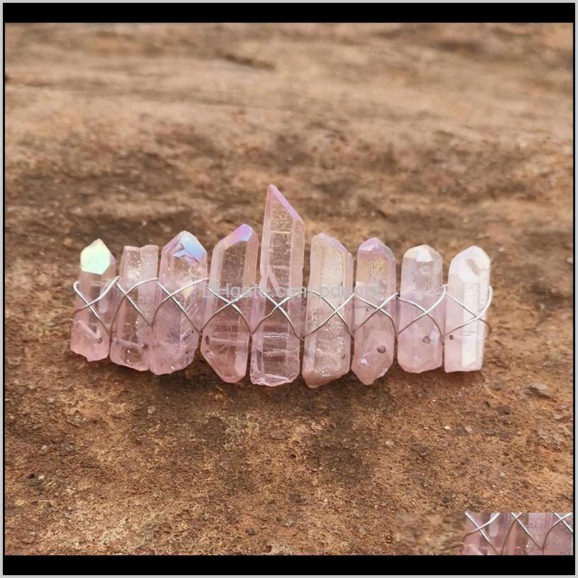 angel aura crystal barrette natural stone bohemia ponytail clips for women french clip rainbow quartz hair accessories