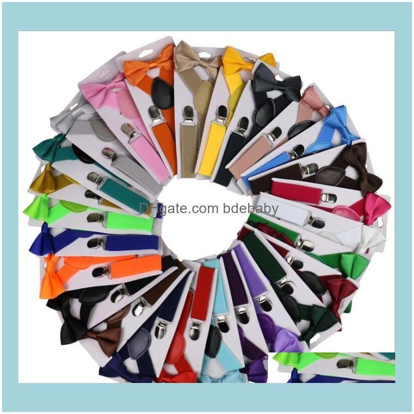 Belt Bowtie Set Baby Bjorn Kids Suspenders with Bow Tie Adjustable Girls Boys Suspenders Wholesale Wedding Accessories 26 Colors XTL46