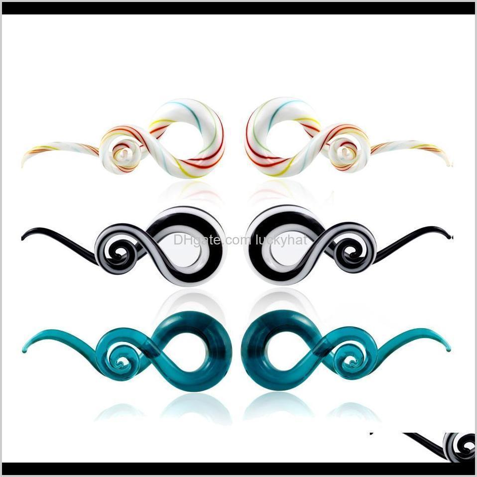 h-s pair glass ear spiral taper ear weight hanger glass twist earring gauges stretching expander piercing body jewelry 5mm-14mm