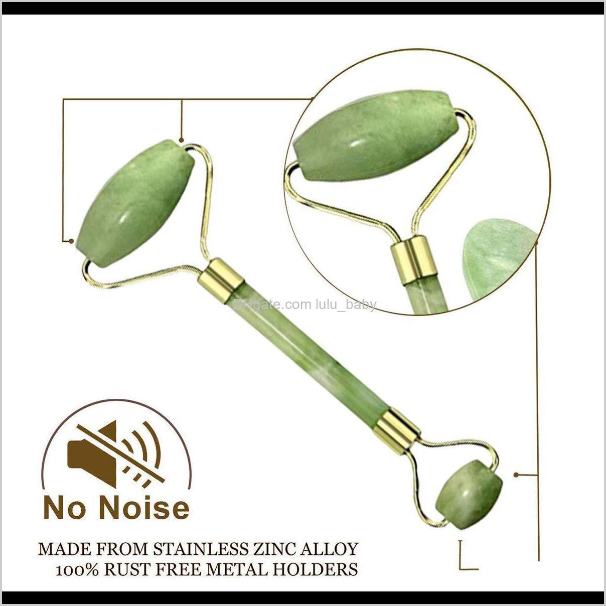 natural jade roller guasha skin scraper facial set facial stone firming face anti-aging puffy eyes massager neck anti wrinkle