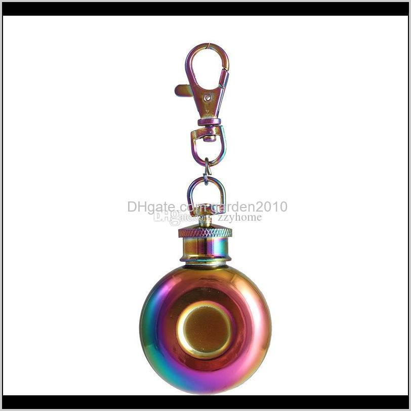 1oz mini round hip flask portable liquor wine pot stainless steel metal small hip flask with keychain 28ml