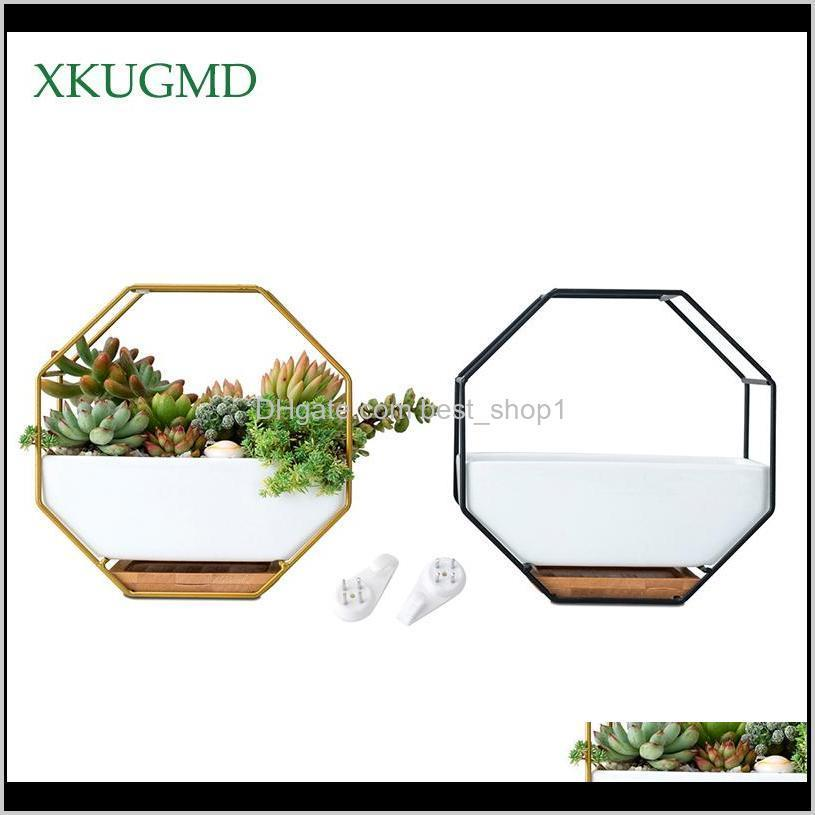 metal iron rack white ceramic planter pot simple octagonal geometric wall hanging ceramic flower pot bamboo tray iron frame t200104