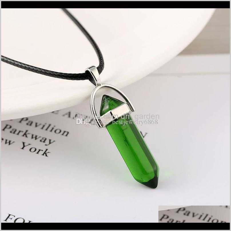 new hexagonal prism bullet necklaces for women men natural healing crystals quartz point stone pendant string rope chains fashion