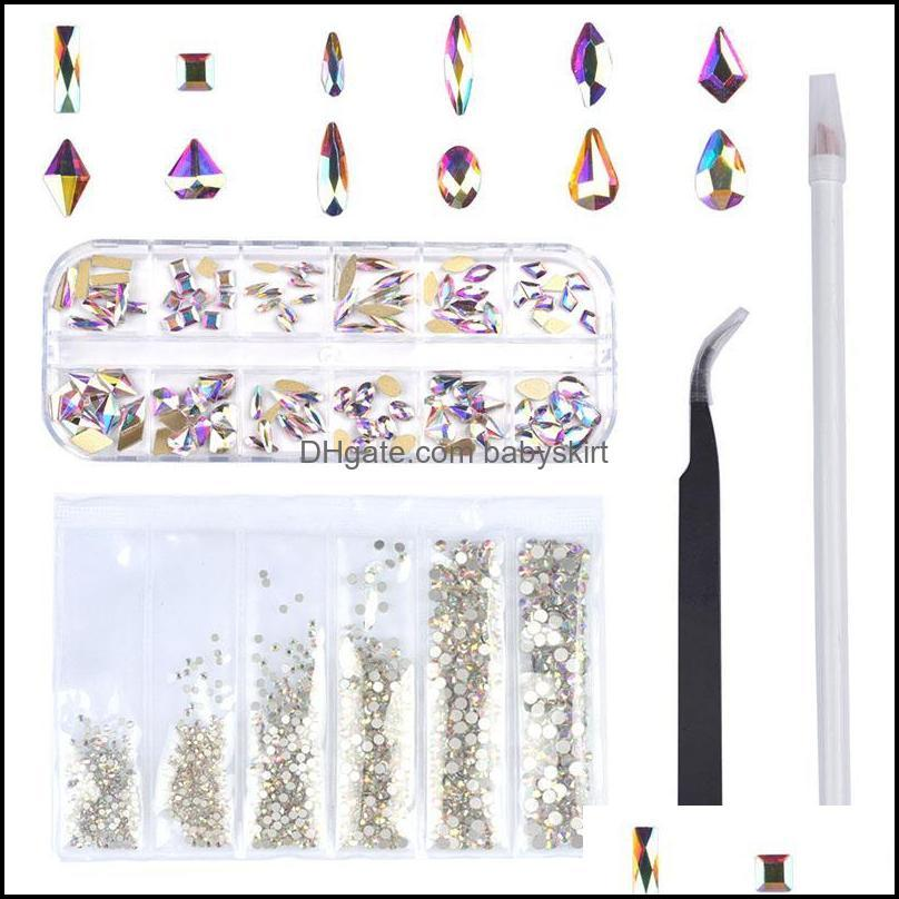 Nail Art Decorations 120 Pcs Multi Shapes Glass Crystal AB Rhinestones For Craft, Mix 12 Style FlatBack Crystals 3D