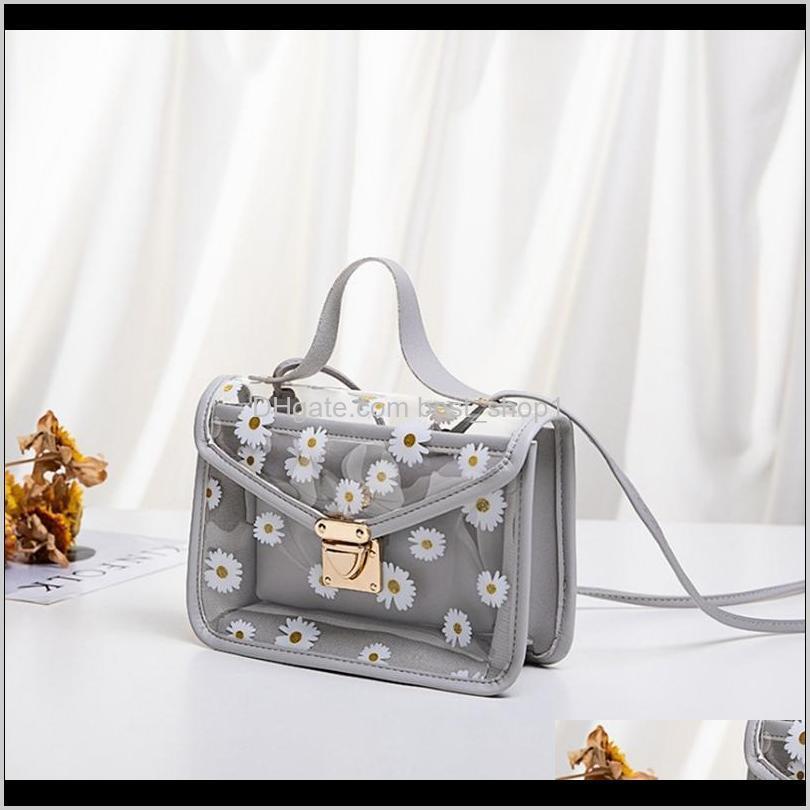 women transparent daisy pattern shoulder bag hardware chain strap color square block messenger handbag composite tote