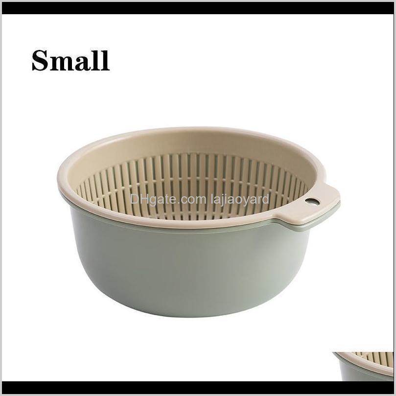 qdrr double plastic washing basket kitchen draining vegetable basket household round fruit basket vegetable washing basin wmtmph