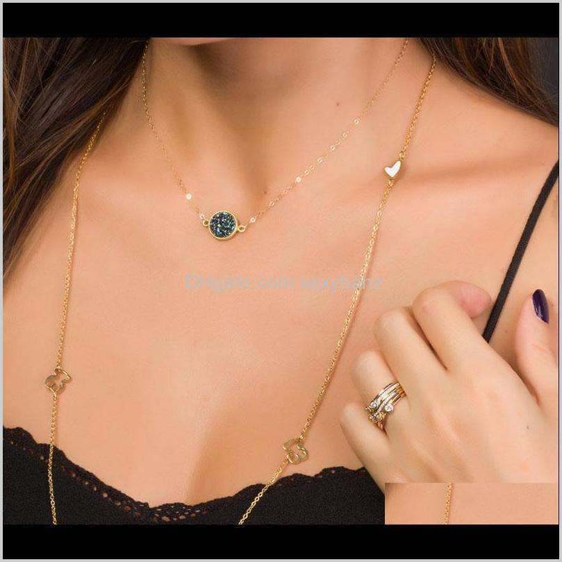 new design resin stone druzy necklaces 5 colors gold plated geometry stone pendant necklace for elegant women girls fashion jewelry