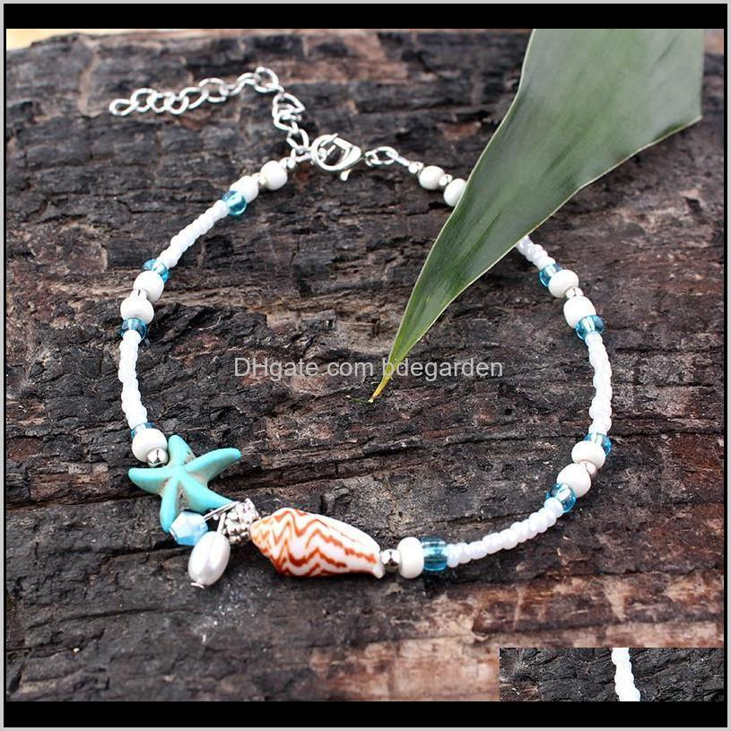 handmade beads sandal anklet bracelet foot jewelry shell starfish anklets for women ps0967