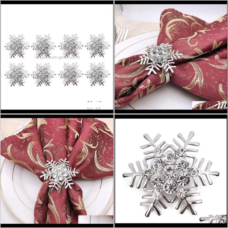 silver snowflake napkin ring christmas napkin holder festive crystal rhinestone ring wedding christmas table dinner decor1