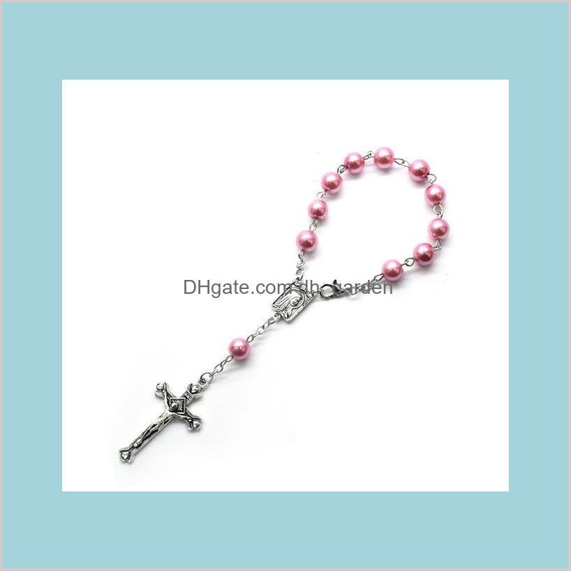 pearl cross bracelet vintage cross rosary bracelet for men women religious jewelry many colors