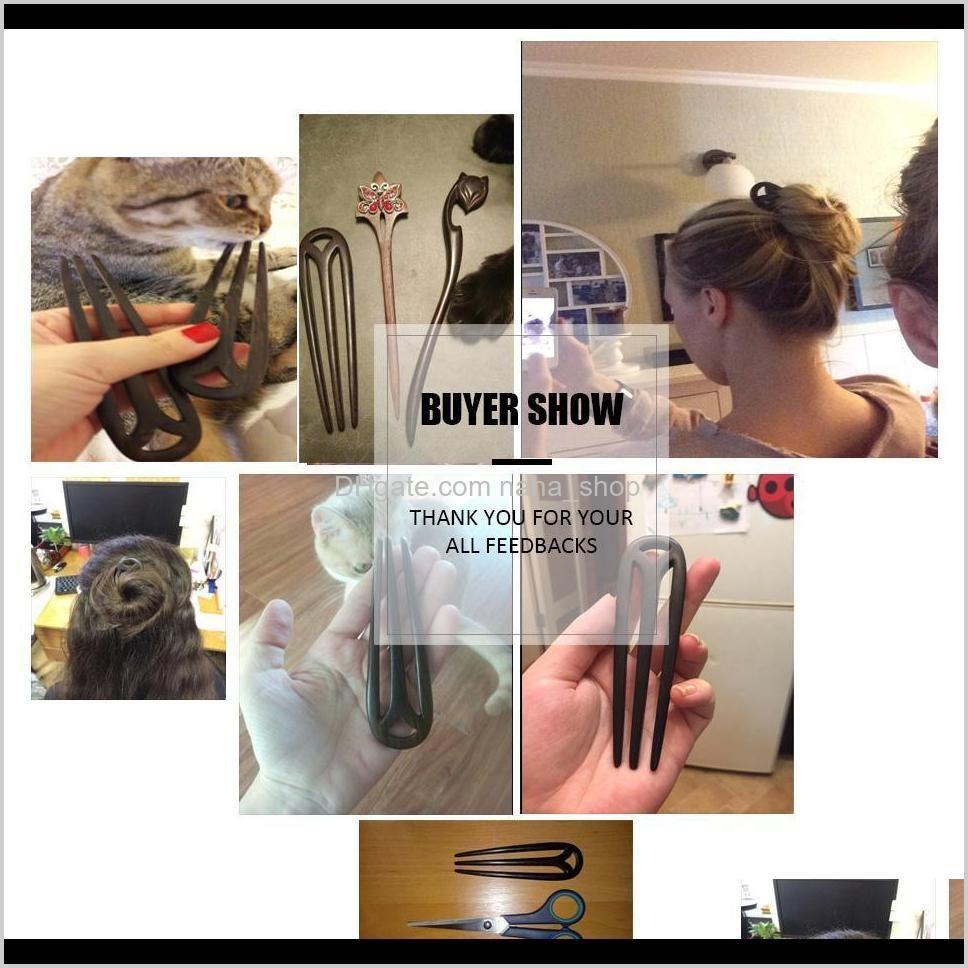 hair jewelry hand-carved wood sticks hairpins u shape ebony bridal headwear hair comb accessories hair ornaments