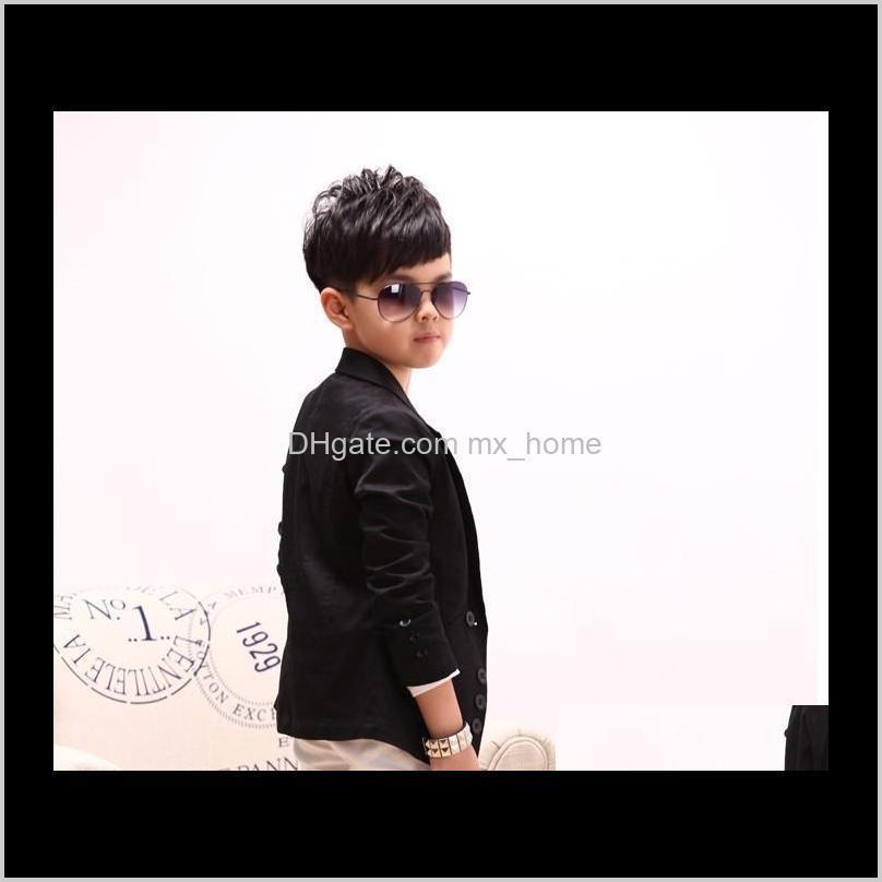 fashion big boys suit coat solid korean children lapel child outwears spring autumn kids button party clothes black red 7pcs/lot k4439