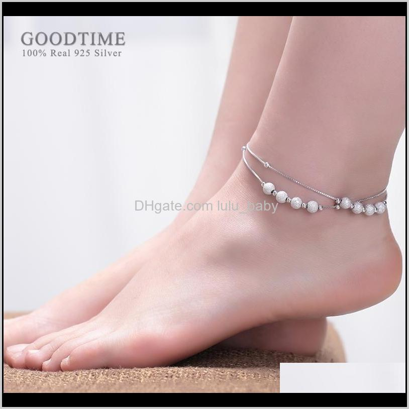 fashion pure 925 sterling silver anklet frosted gold color white round beads anklets for women ankle bracelet foot chain jewelry f1219
