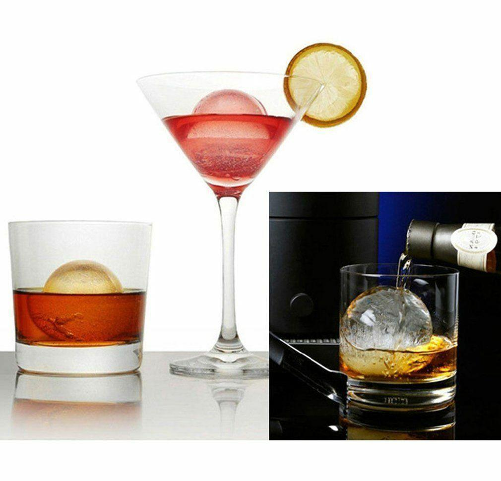 round ice ball maker sphere tray 6 holes silicone mold cube for cocktails whiskey black pink blue