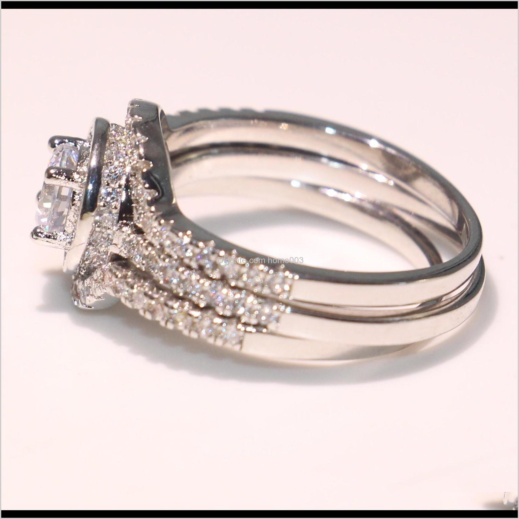 victoria wieck high quality luxury jewelry 10kt white gold fill round shape topaz pave cz diamond 3pcs lz1077