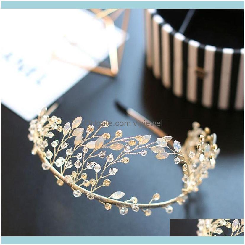 Princess Crown Tiara Wedding Bridal Rhinestone Headband Silver Crystal Hair Accessories Band Jewelry Headpiece Headdress Beads
