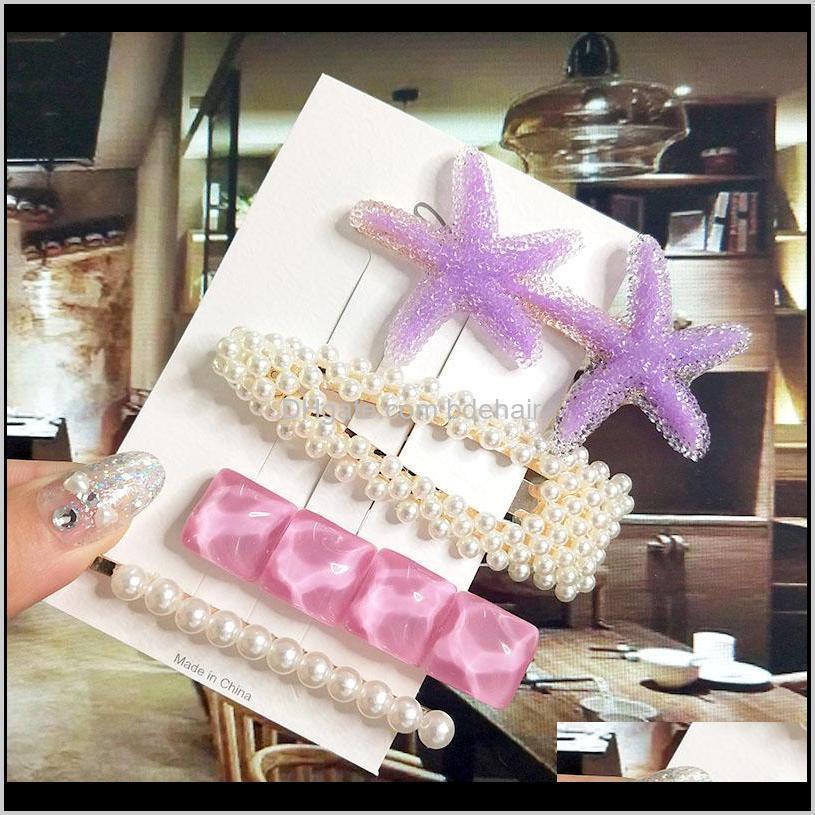women barrette set fashion acrylic simulation pearl big starfish hair clips for girls hair accessories geometric hairpin jewelry