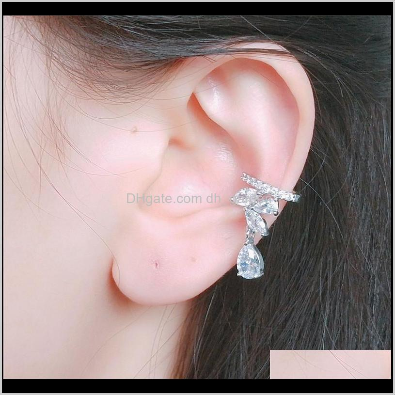 top quality 18k white gold horst eye cubic zirconia water drop cuff earring personalized ear cuff womens cuff studs jewelry gifts for