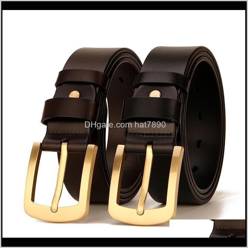 Solid Top Quality 100% Cowskin Belt Men`s Retro Cowhide Leather Brass Pin Buckle Belts Men 105-125cm
