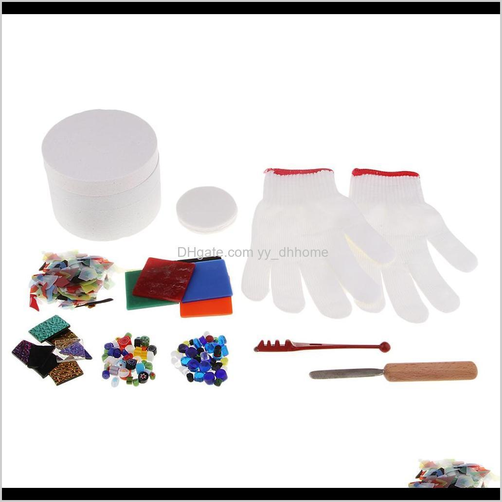 pack of 10pcs small stained glass fusing supplies professional microwave kiln kit tool with assorted fusing glass beads charms tools