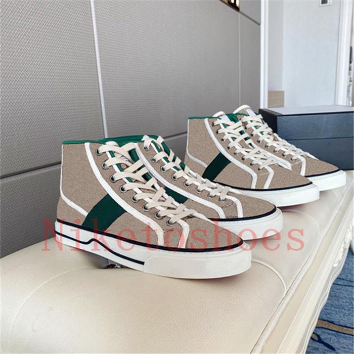 المصممون عالية أعلى حذاء رياضة البيج الأخضر والأحمر الشريط المرأة الأحذية 77 التطريز قماش عارضة الأحذية إيطاليا Luxurys tennis 1977 chaussures