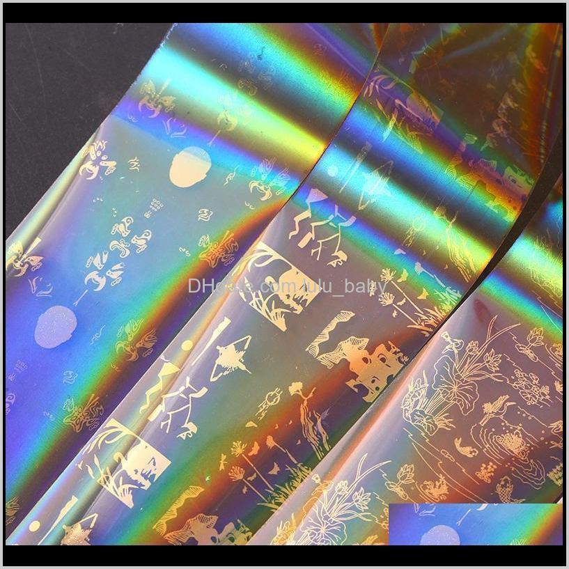 laser gold nail foil star sky series transfer sticker starry sky glue adhesive full cover decal decorations
