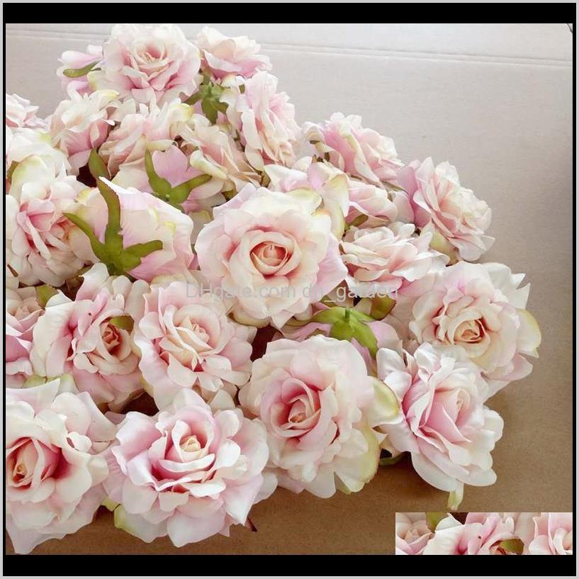 5pcs 10cm rose flower head silk flower for wedding party decoration diy scrapbook craft wall decor artificial