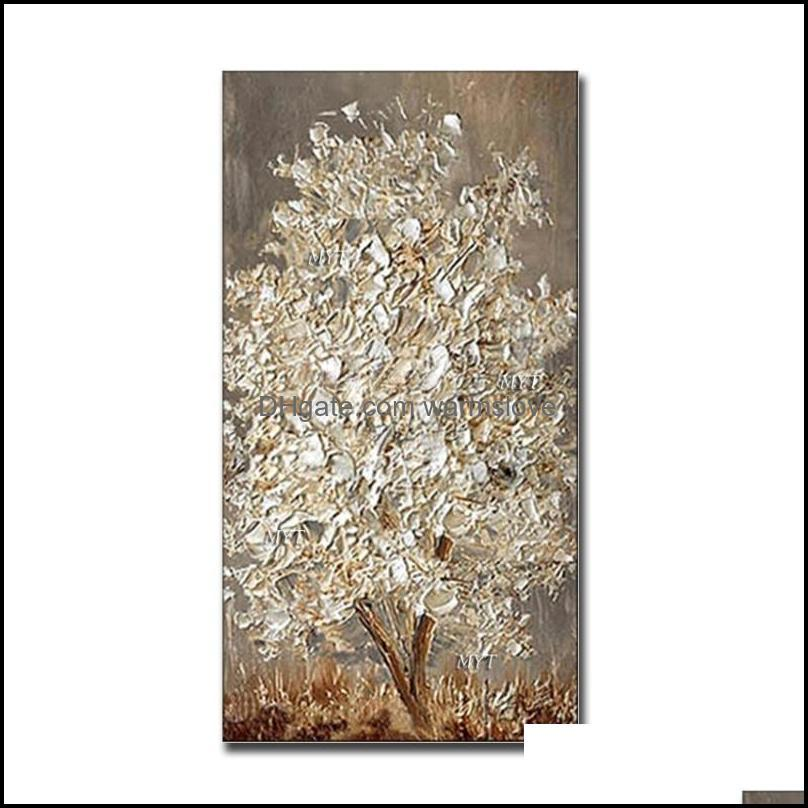 New Handmade Large Modern Canvas Art Oil Painting Knife Golden Tree Paintings For Home Living Room Hotel Decor Wall Art Picture1