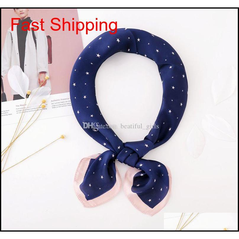 2017 spring and summer female scarf 5 colors fashion printing satin scarf 70 * 70cm cartoon oliver narrow narrow banded scarf 10pcs