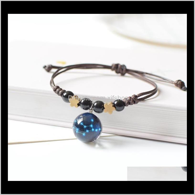 the night twelve-constellations luminous braided bracelet jewelry handmade luminous women and men bracelet