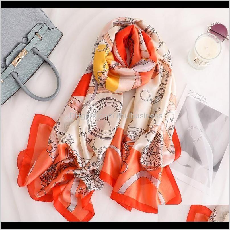 china new style women popular beach fashion autumn and winter nice chain print scarves wraps hijab lady silk muffler shawl1
