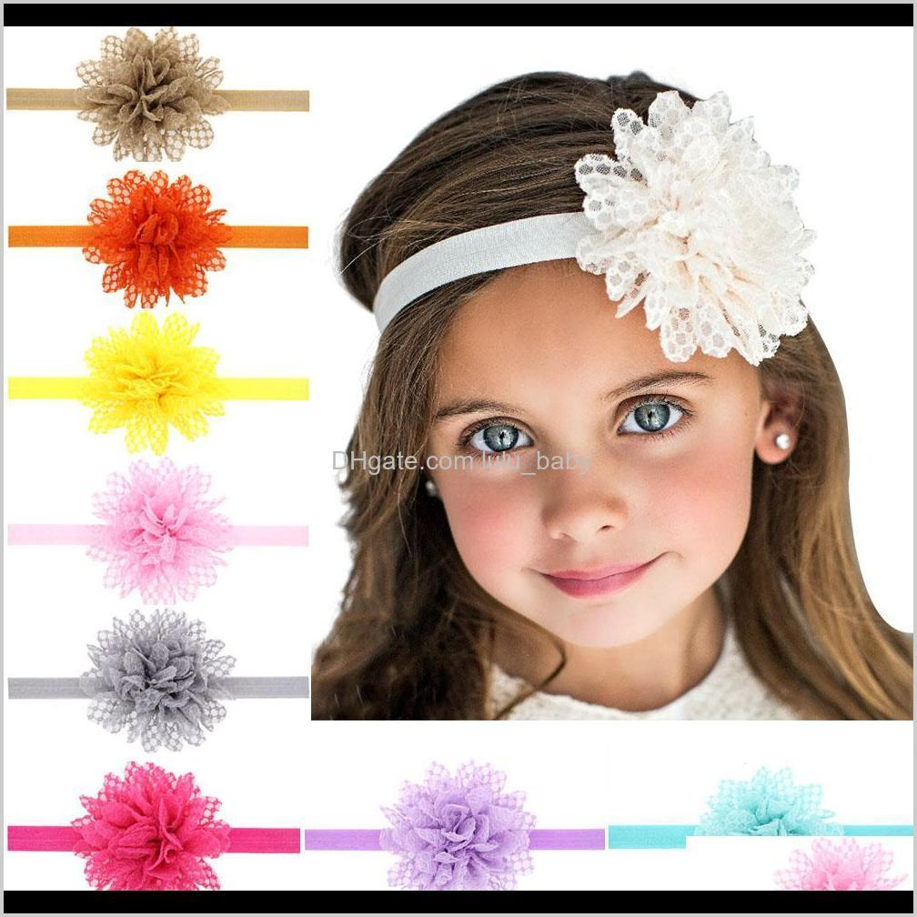 baby lace flower hair band 13 color silk hair rope band knitted elastic headband head bands baby hair band