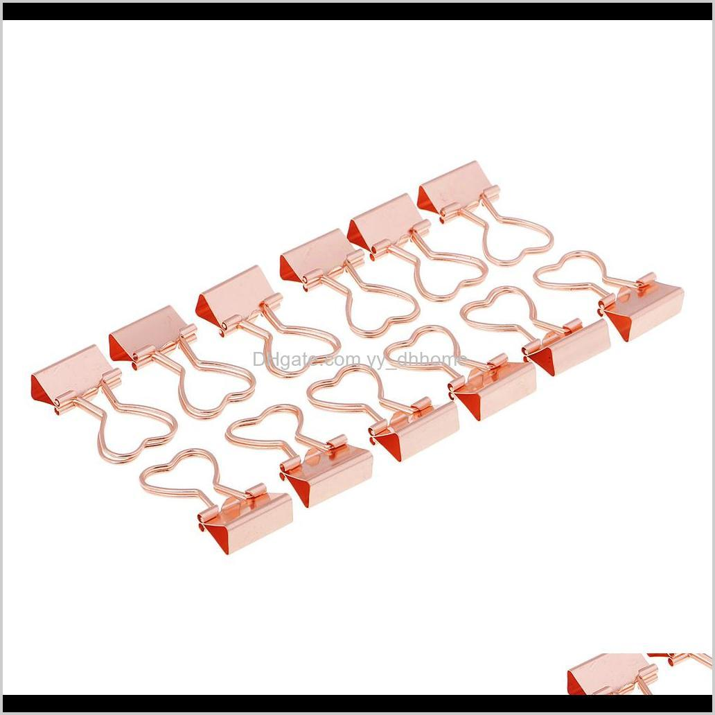 12 pieces binder clips, gold / rose gold colors, metal paper clips, heart shapes, 1.38 x 0.71/
