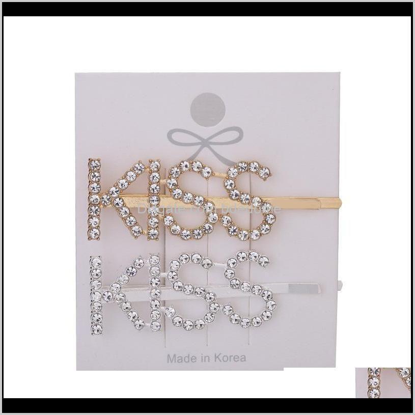 silver gold letter word rhinestone crystal hairpin hairclips hair clip grip pin barrette ornament hair accessories hhb1785
