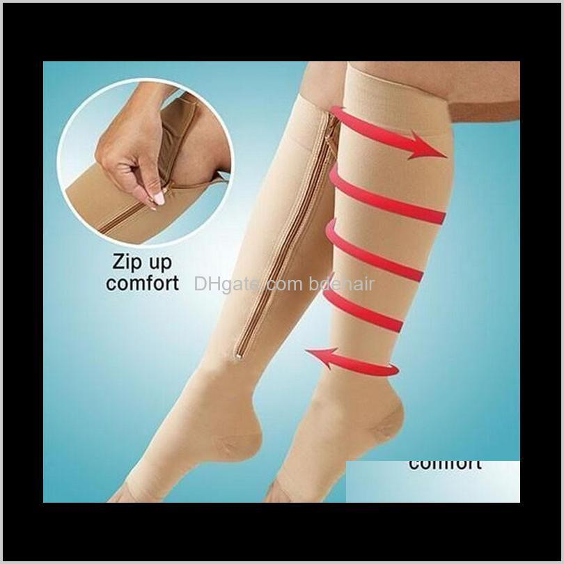 zip sox zip-up zippered compression knee socks supports stockings leg open toe hot shaper black and beige by 100pairs/lot
