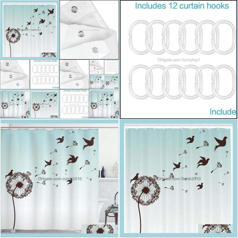 Art Shower Curtain Dandelion Flower Arrangement Petals Doves Flying Silhouettes Fantasy Blooms Print Bathroom Decor Set