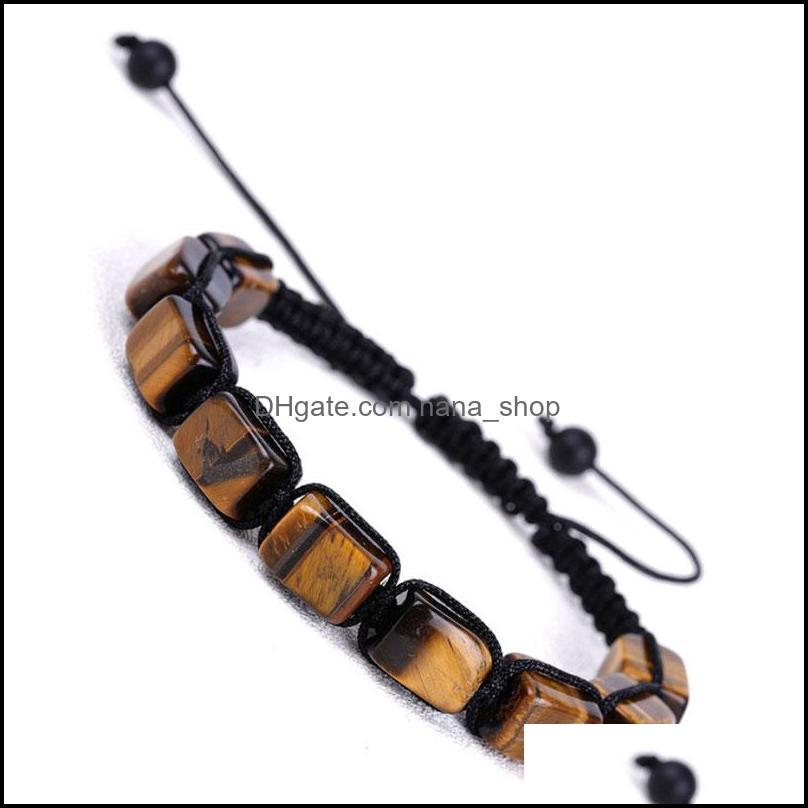 Colorful Natural Stone Rope Braided Handmade Beaded Charm Bracelets Adjustable Energy Jewelry For Women Men Party Club Decor