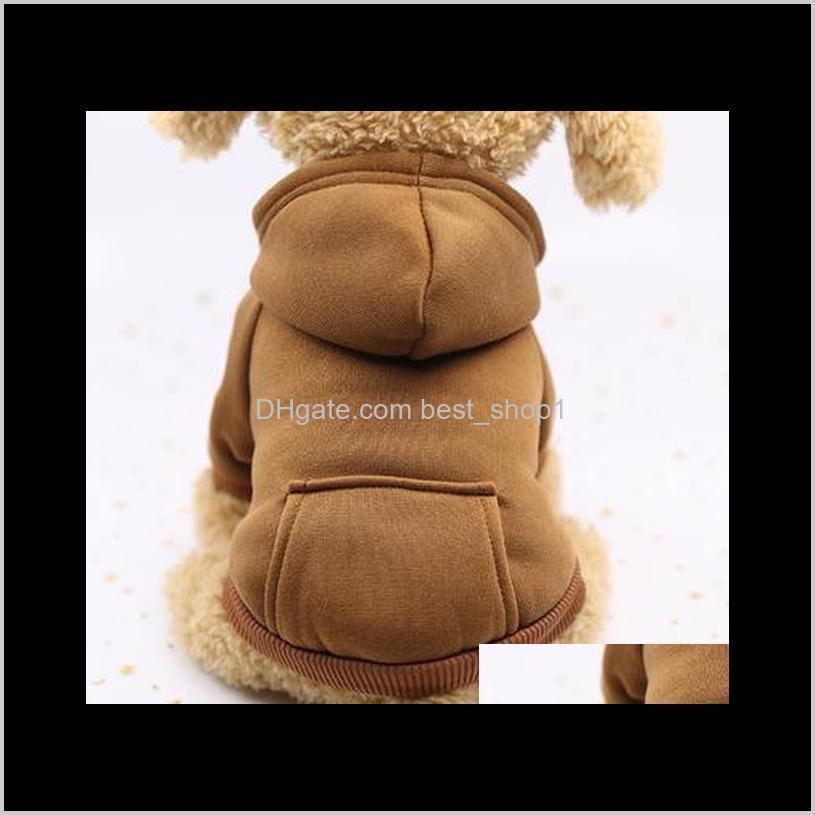pet dog clothes warm dog hoodies coat pocket jackets puppy pet overalls small dog costume pets outfits pet supplies eea885