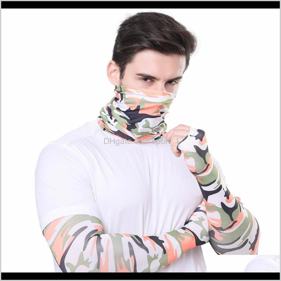 men bandana magic scarf gloves protective sleeves set sport sun uv protection cooling face mask for running fishing cycling ljja4080