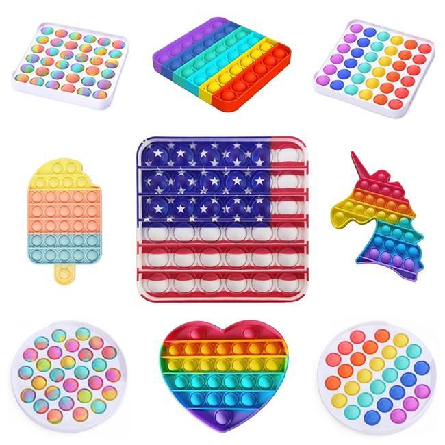 Precio más bajo Push Bubble Sensory Fidget Toy Stress Reliever Ansiedad Alivio Juguetes para niños Regalos de fiesta de cumpleaños