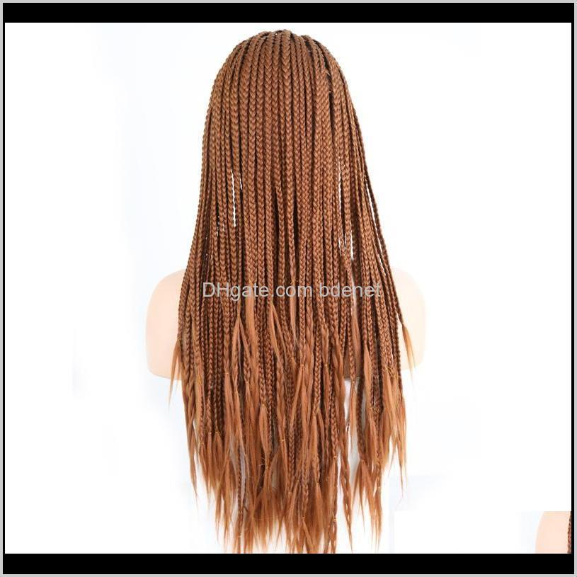 charisma brown hair wigs braided box braids wig with baby hair synthetic lace front wig for women long lace